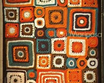 Crochet BLANKET Pattern Vintage 70s Granny Square Mosaic Afghan Pattern Crochet Patchwork Mural Pattern Crochet Throw Pattern Crochet Motif