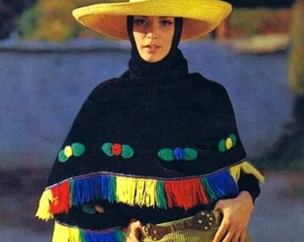 SHAWL PATTERN Vintage 60s Mexican Poncho Pattern KNITTING Pattern