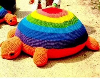 Crochet TOY Pattern Vintage 70s Crochet TORTOISE Stuffed Animal Crochet Baby Toy Pattern Crochet TURTLE Pattern Crochet Floor Pillow Pattern