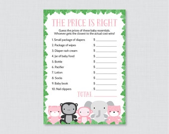 Jungle Theme Baby Shower Price Is Right Game   Printable Jungle Animals Baby  Shower Game