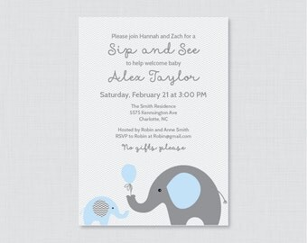Elephant Sip And See Invitation Printable or Printed Pink