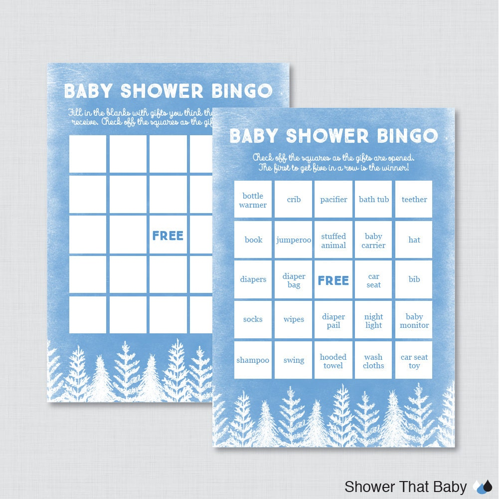 winter baby shower bingo cards printable blank bingo cards