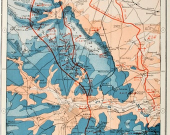 Antique Military Map : The Western Front, Lens & Arras - WWI, Great War, First World War. Harmsworth c. 1919
