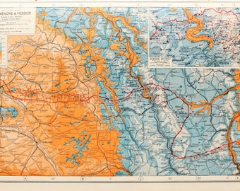 Antique Military Map : The Western Front, Champagne & Verdun - WWI, Great War, First World War. Harmsworth c. 1919