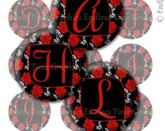 Alphabet Bottlecap Images. Digital Bottle Cap Image. Rose Digital Collage Sheet. 1 Inch Printable Circles. Initial Badge Reel, Pendant 033
