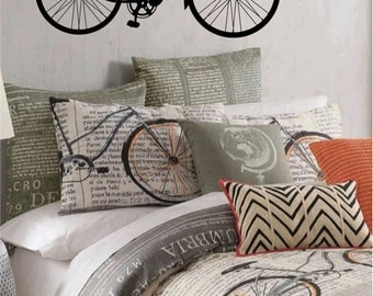 Bicycle Vinyl Wall Decal - Teen's Room, Retro Wall Sticker