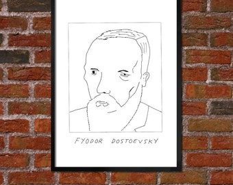 Badly Drawn Fyodor Dostoevsky - Literary Poster - *** BUY 4, GET A 5th FREE***