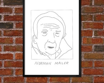 Badly Drawn Norman Mailer - Literary Poster - *** BUY 4, GET A 5th FREE***