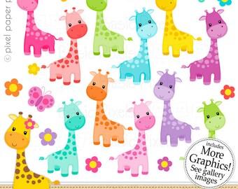 Giraffe Girl Clipart - Digital Clip Art - Giraffe Girl - Personal and commercial use