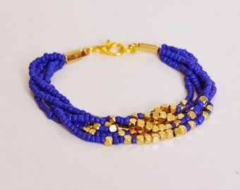 Multistrand beaded bracelet, navi blue and gold bracelet, blue bracelet, seed bead bracelet, gold bracelet
