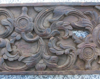 Antique Indian Panel, Carved Wood, Large
