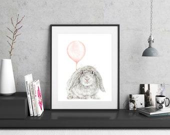 Rabbit Print, Bunny Art Print, Bunny Nursery Art, Baby Room, Animal Nursery Art Print