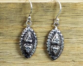 Buddha Earrings, Heart Earrings, Bohemian Earrings, boho earrings, Tribal Earrings, Silver Earrings,  Light Earrings, Drop Earrings