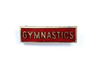 Vintage small 1960s gymnastics pin, small gymnastics badge, red enamel gymnastics brooch, school gift, gym gift, red pin, Fattorini