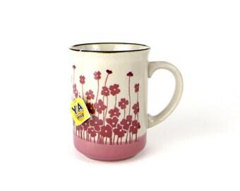 Vintage mid-century stoneware mug - pink flowers mug - earthy wildflower mug