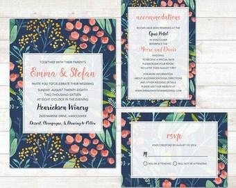 Wedding Invitation Set, Watercolor Wedding Invitation Set, Floral Wedding Invitation Set, Printable Wedding Invitation Set