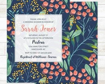 Watercolor Wedding Shower Invitation, Floral Wedding Shower Invitation, Printable Wedding Shower Invitation, Custom Wedding Shower Invite