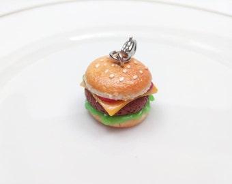Hamburger Charm, Handmade, Jewelry, Charms, Food Charms, Miniature Food Jewelry, Hamburger Jewelry, Hamburger Charm, Fimo Food