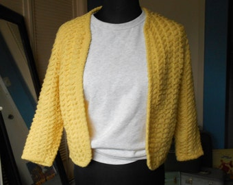 Vintage Yellow Knit Cardigan - 70s/80s