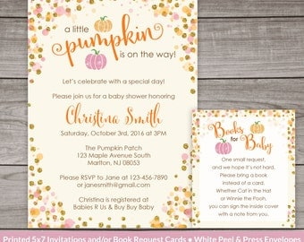 Little Pumpkin Baby Shower Invitations for a Girl - Pink and Orange Pumpkins - Printed Invitations -  Baby-247