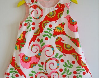 Girls Winter dress, Christmas birds, Michael Miller, Kids clothing, a-line, pinafore, 100% cotton, girl, baby, toddler, size NB to 8 Y.