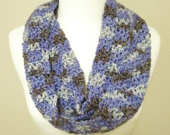 Crochet Infinity Scarf in Sparkly Purple and Brown