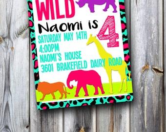 Let's Go Wild Birthday Invitation!!!!!!!!!! Leopard Print!!! Safari!!! Birthday Invite!!!! Digital File or Printing Available!!!