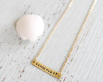 Wanderlust necklace - Gold wanderlust necklace - Wanderlust text necklace - Travel necklace - Rustic gold necklace - Dainty necklace