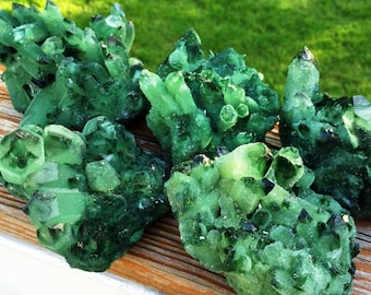 1 One XXL Huge GREEN QUARTZ Cluster Rough Points Natural Crystal Green Healing Stone