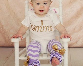 "SALE  Gold Glitter Vinyl  ""1"" with personalized name Onesie, Lavender Chevron Leg Warmers, & Headband Set, baby girl,1st Birthday,Cake Smash"