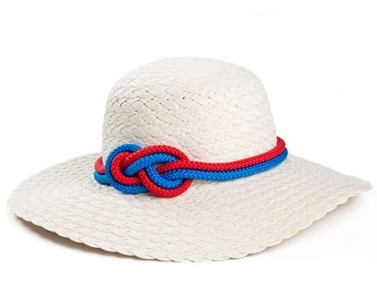 Straw hat , Custom hats , White hat decorated with a sailor rope & a nautical knot.