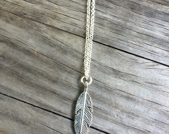 Feather Necklace, Charm Necklace,  Necklace, Good luck Charm