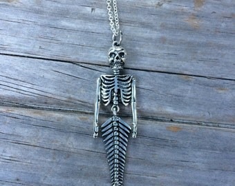 Skeleton Mermaid Necklace, Halloween Necklace, Mermaid Necklace, Skeleton Necklace