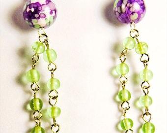 """Earrings, bead earrings, bead jewelry, purple green earrings, purple green bead, pale green bead chain, dangle earring, 3.5"""" earring"""