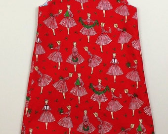 """Size 6 """"Cassie Dress"""" Fully Reversible - Holiday Hostess / Sweet Strawberries"""