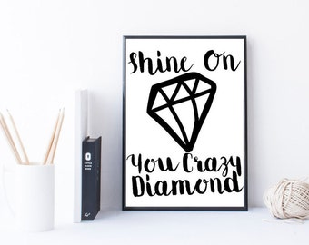 shine on you crazy diamond pink floyd rock lyrics printable quote