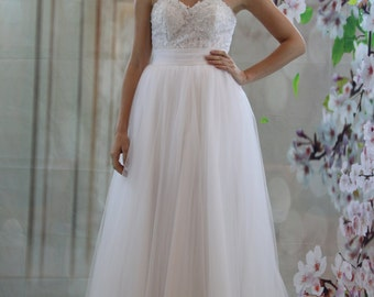 2 in 1 wedding dress, sweetheart lace short sexy dress, Aline skirt with lace applique bridal gown