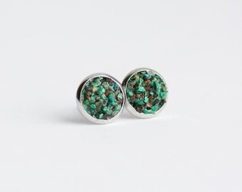 8mm Raw Chrysocolla Earrings. Chrysocolla Earrings. Chrysocolla Studs. Chrysocolla Stud Earrings. Studs. Stud Earrings. Green Chrysocolla.