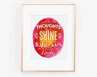 If You Have Good Thoughts, Office Wall Art, Desk Accessories, Inspirational Quote, You will always look lovely, Inspirational Wall Art