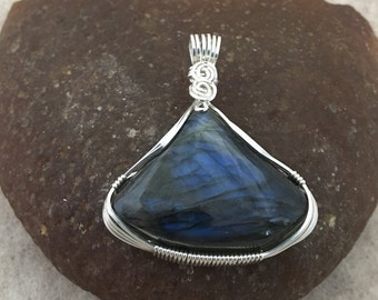 LABRADORITE PENDANT, Wrapped in Sterling Silver Wire