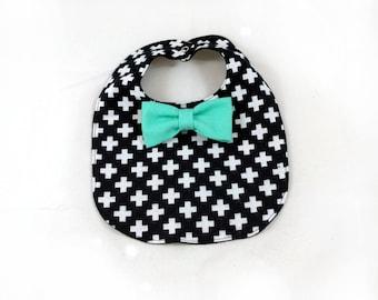 Cross Baby Bib - Bowtie Bib - Monochrome Baby Bib - Dribble Bib - First Birthday Gift - Unique Baby Shower Gift - Hipster Baby Bib