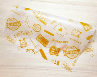 Retro Food Wrapping Paper - Light Brown (10 Sheets / 22cm x 25cm) Cake Wax Paper Greaseproof Paper Candy Wrap Paper P0154