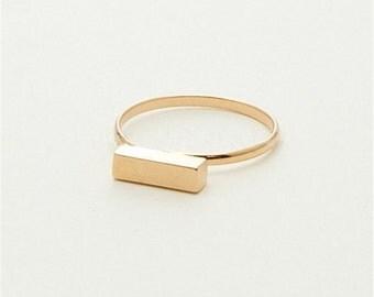 Bar Ring, Gold Bar Ring, Silver Bar Ring, Geometric Ring, Rectangular Ring, Boho Ring