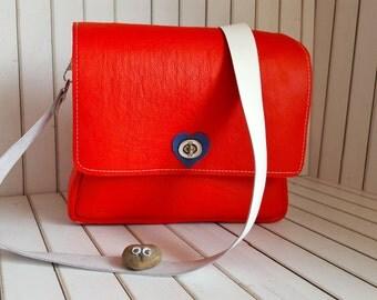 Red Leather bag, Small shoulder messenger bag, Leather tote Crossbody bag, Shoulder bag, Womens leather messenger bag, Leather satchel women