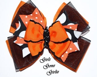Halloween hair bow , girl Halloween hairbow , orange and black layered hairbow , Halloween boutique bow , Halloween baby , toddler Halloween