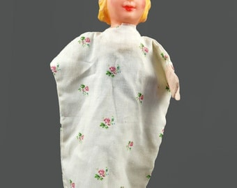 Mid Century Blonde Woman Hand Puppet Toy Head Puppet Ventriloquist Vintage Puppet