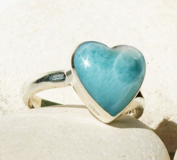 Azzure Silvers: Larimar Caribbean Kiss Ring Sterling Silver Authentic Azure