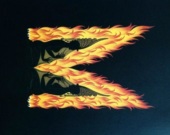 Erte 1982  - Letter  M - ALPHABET SERIES - Fire Twins Girls Around Fire Flames - Professionally Matted Art Deco Fashion Print Ready to Frame