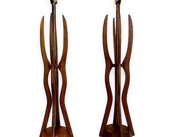 VVH Vintage Pair Mid Century Modern Danish Style Teak Wood Table Lamps  Sculptural Table Lamps In
