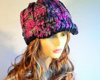 Newsboy Hat, Newsboy Cap, Womens Knit Hat, Pink Black Hat, Pink Hat, Baker Boy Cap, Baker Boy Hat, Black Hat, Knitted Hat, Handknit Hat